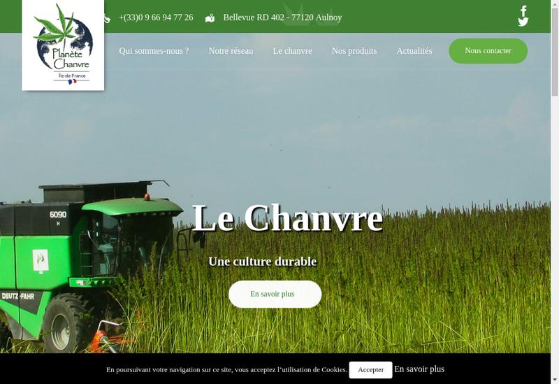 Capture d'écran du site de Planete Chanvre