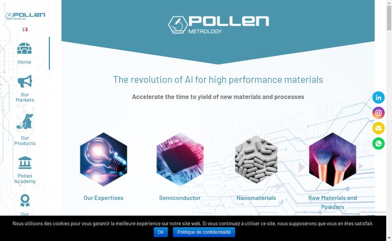 Capture d'écran du site de Pollen Metrology