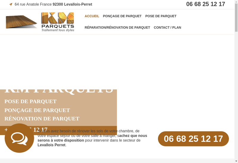 Capture d'écran du site de Km Parquets
