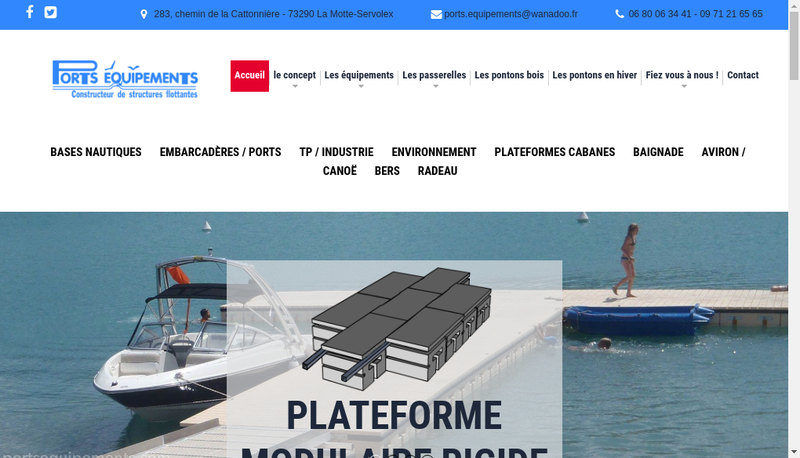 Capture d'écran du site de Ports Equipements