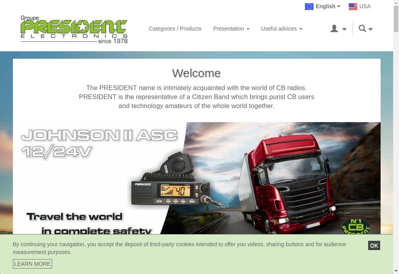 Capture d'écran du site de Groupe President Electronics