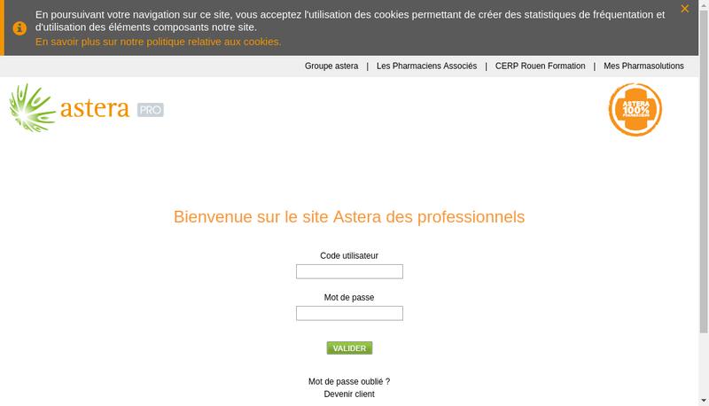 Capture d'écran du site de Astera
