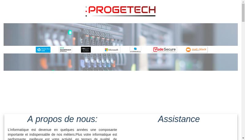 Capture d'écran du site de Progetech