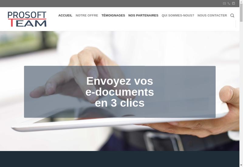 Capture d'écran du site de Prosoftteam