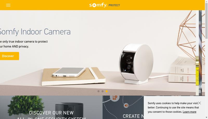 Capture d'écran du site de Somfy Protect By Myfox