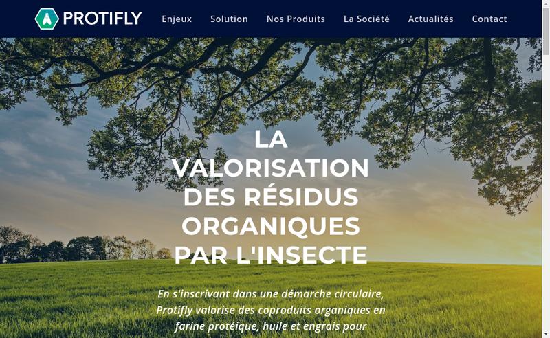 Capture d'écran du site de Protifly