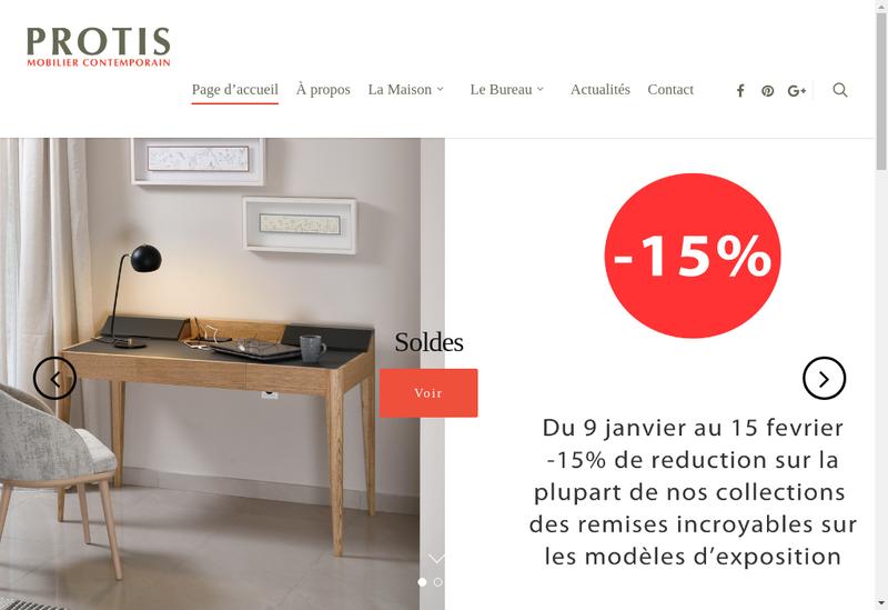 Capture d'écran du site de Protis