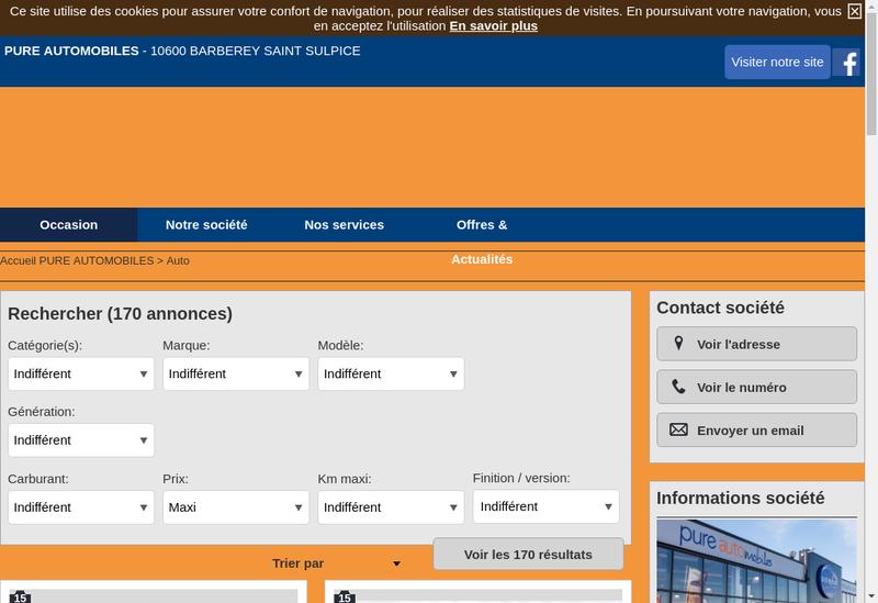 Capture d'écran du site de Top Garage, Distinxion, Zero Km