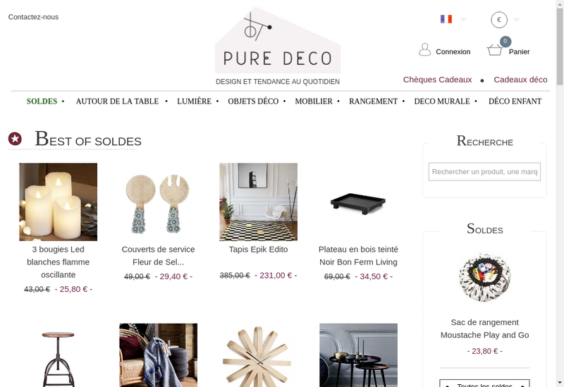 Capture d'écran du site de Pure Decoration