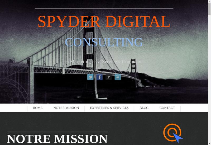 Capture d'écran du site de Spyder Digital Consulting