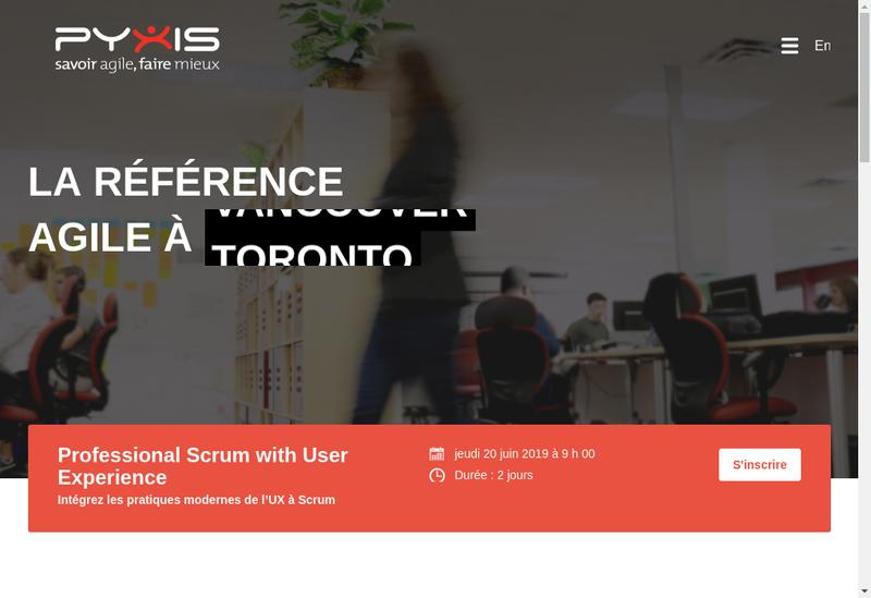Capture d'écran du site de Pyxis