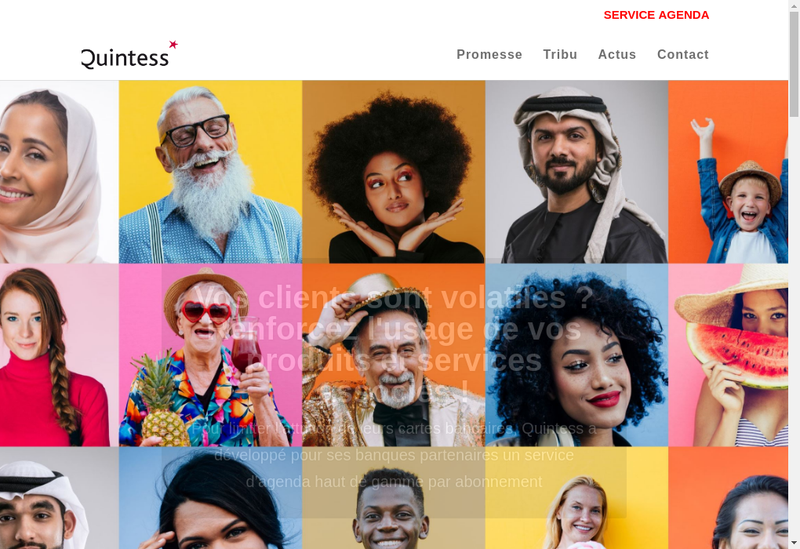 Capture d'écran du site de Quintess
