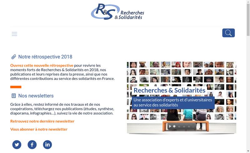 Capture d'écran du site de Recherches et Solidarites
