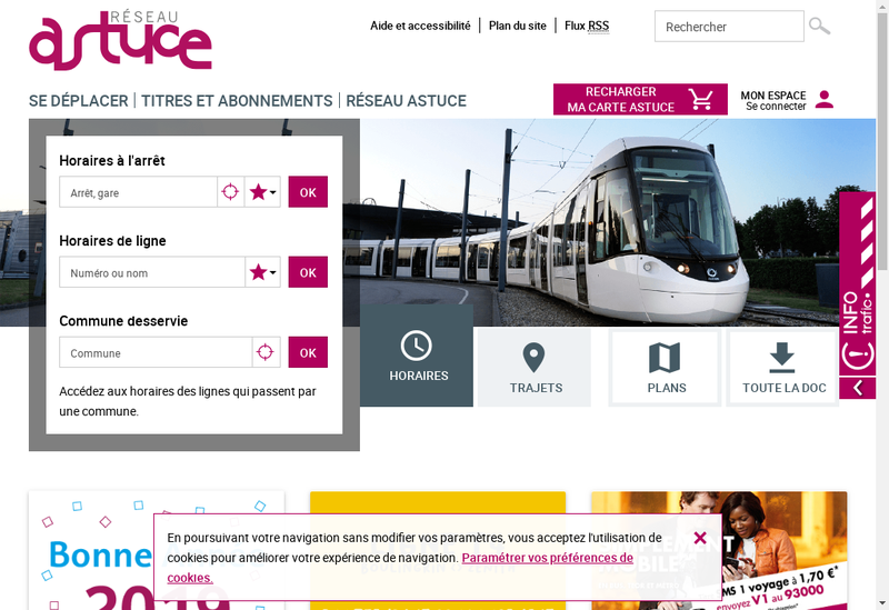 Capture d'écran du site de Transports Communs Agglomeration Rouen