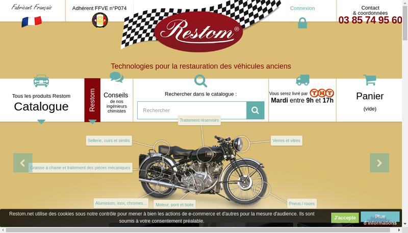 Capture d'écran du site de Restom
