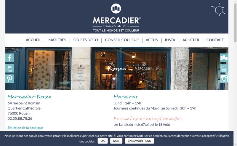 Capture d'écran du site de Mercadier Depositaire Farrow & Ball