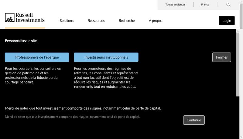 Capture d'écran du site de Russell Investments France