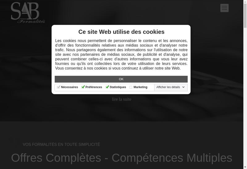 Capture d'écran du site de Sab Formalites