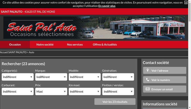 Capture d'écran du site de Saint Pal Auto