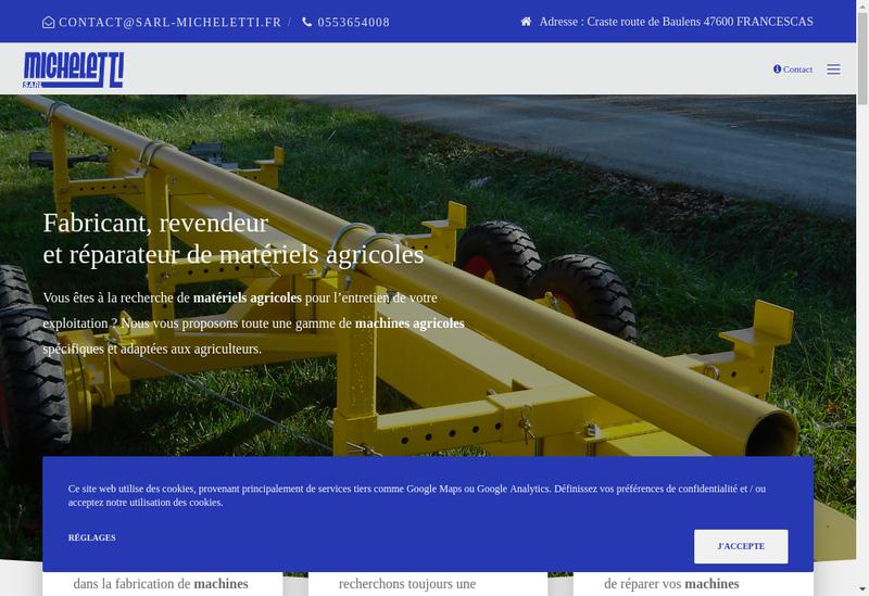 Capture d'écran du site de SARL Micheletti
