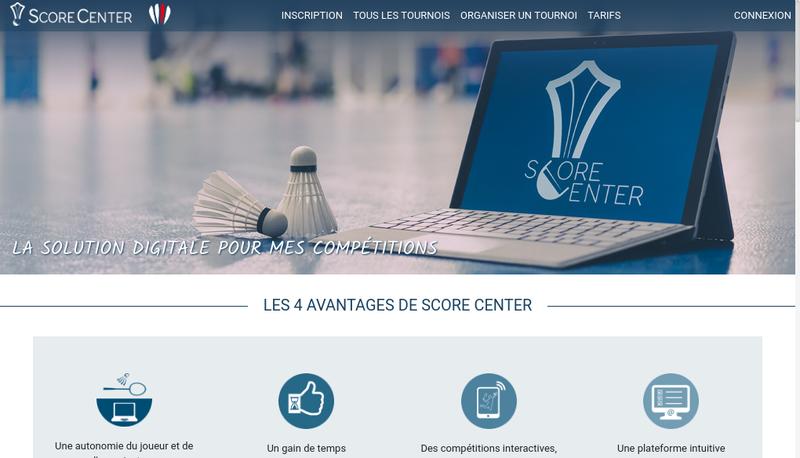 Capture d'écran du site de Score Center