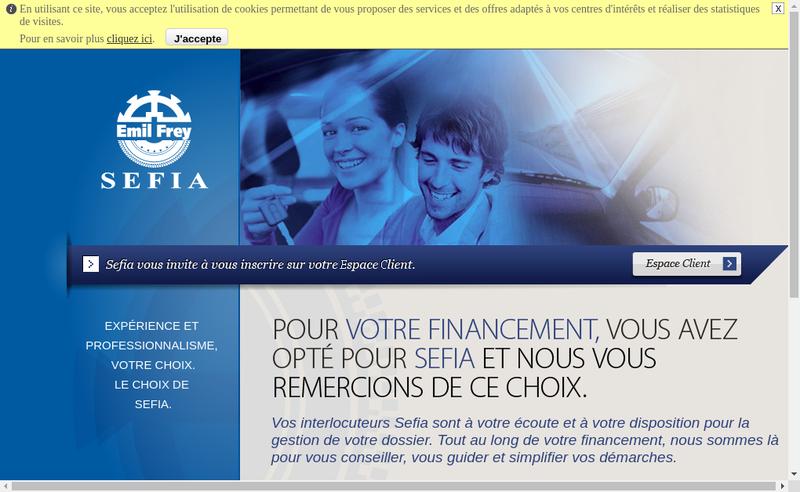 Capture d'écran du site de Sefia