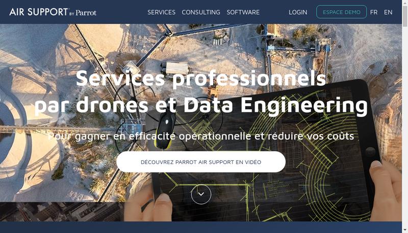Capture d'écran du site de Parrot Air Support