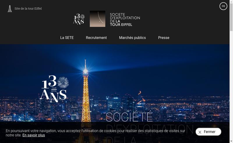 Capture d'écran du site de Societe d'Exploitation de la Tour Eiffel