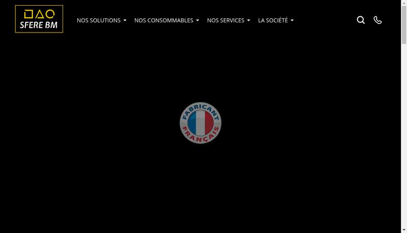 Capture d'écran du site de Sfere Emballage
