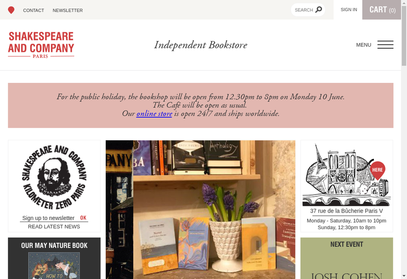 Capture d'écran du site de Shakespeare And Company