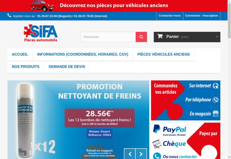 Capture d'écran du site de Societe Industrielle Fournitures Automobil