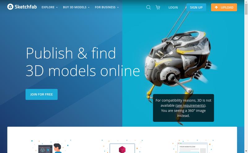 Capture d'écran du site de Sketchfab