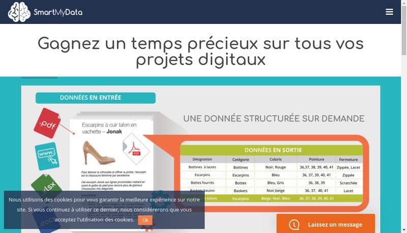 Capture d'écran du site de Smartmydata