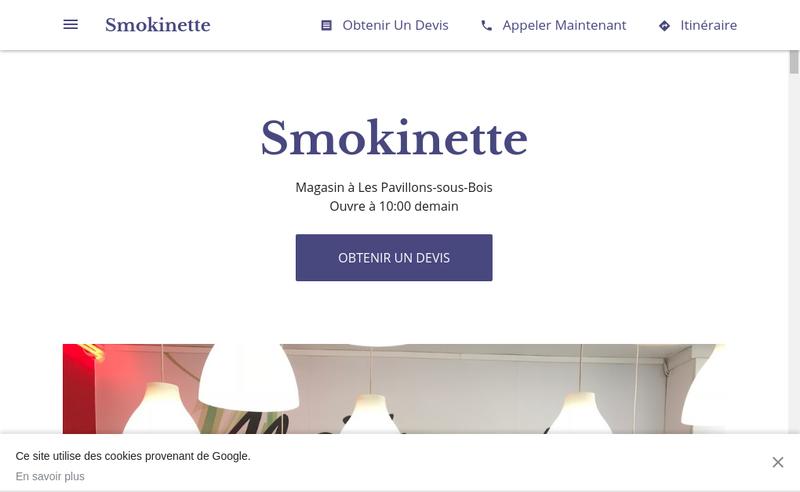 Capture d'écran du site de Smokinette