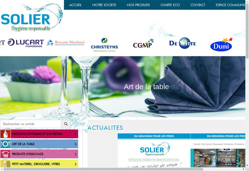 Capture d'écran du site de Societe Solier SA