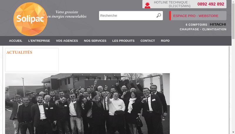 Capture d'écran du site de Solipac