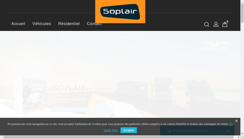 Capture d'écran du site de Soplair