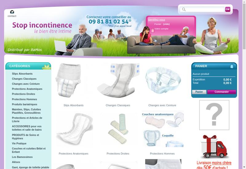 Capture d'écran du site de Bamos Distribution