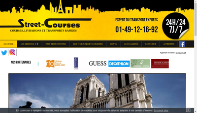 Capture d'écran du site de Street Courses