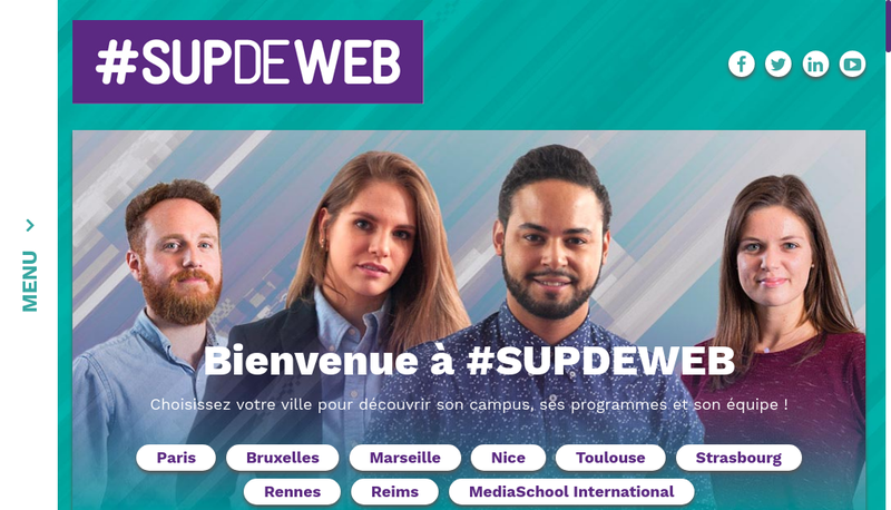 Capture d'écran du site de Supdeweb Paris