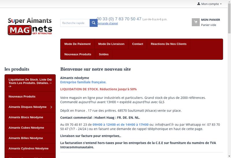 Capture d'écran du site de Super Aimants Europe