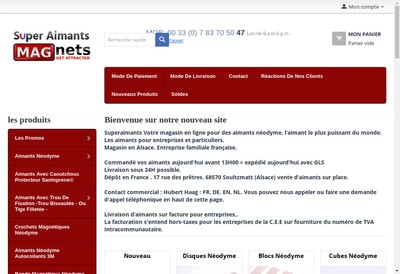 Site internet de Super Aimants Europe
