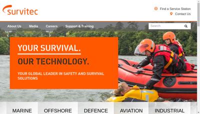 Capture d'écran du site de Survitec SAS