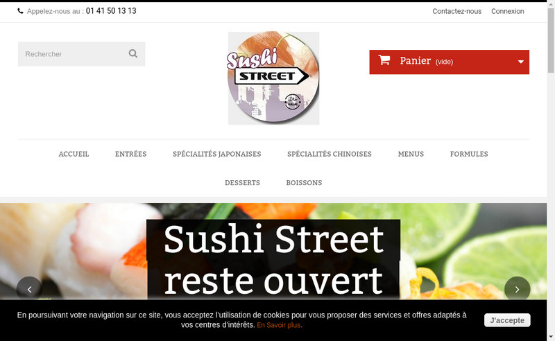 Capture d'écran du site de Sushi Street