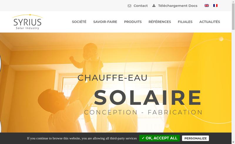 Capture d'écran du site de Syrius Solar Industry