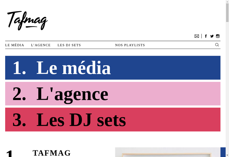 Capture d'écran du site de Tafmag