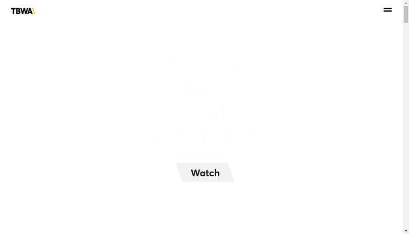 Capture d'écran du site de Tbwa Europe