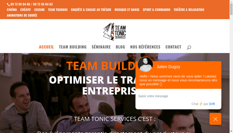 Capture d'écran du site de Team Tonic Services