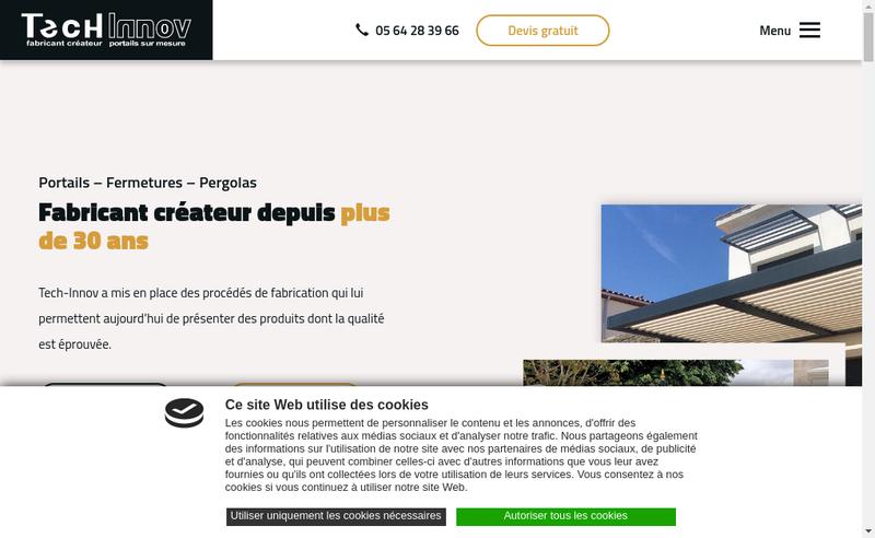 Capture d'écran du site de Tech-Innov
