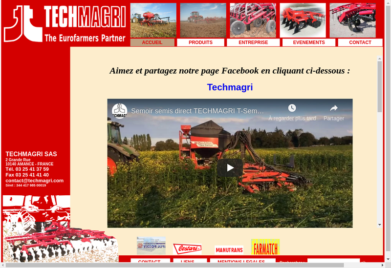 Capture d'écran du site de Techmagri